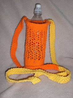 Sling pattern for hemp yarn. I used leftover Peaches n Cream, hence the bi-color. First to do purse stitch on double points. Hemp Yarn, Water Bottle Covers, Peach, Knitting, Color, Water Flask, Peaches, Tricot, Cast On Knitting