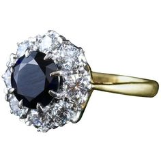 Preowned Antique Sapphire Diamond Custer Ring Vs1 Diamonds Superb... ($5,716) ❤ liked on Polyvore featuring jewelry, rings, blue, engagement rings, sapphire rings, blue sapphire ring, diamond rings, diamond engagement rings and blue diamond rings