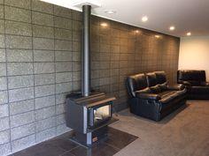 Honed concrete block wall