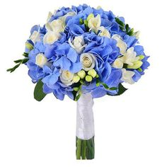 Blue Bridal Bouquet, sky blue hydrangea, wedding decorations, wedding supplies, bouquet of flowers Bridal Bouquet Blue, Blue Bridal, Bride Bouquets, Bridal Flowers, Flower Bouquet Wedding, Bridesmaid Bouquet, Blue Hydrangea Wedding, Floral Wedding, Cold Porcelain Flowers