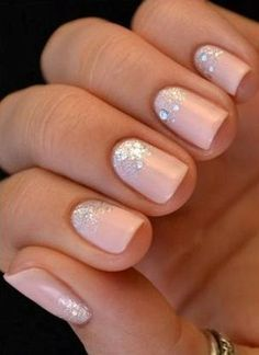 Discover recipes, home ideas, style inspiration and other ideas to try. Bling Wedding, Trendy Wedding, Elegant Wedding, Wedding Makeup, French Nails, Bridal Shower Nails, Wedding Hairstyles Thin Hair, White Eye Makeup, Nagellack Design