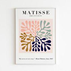 Matisse Cutout Poster Henri Matisse Print Matisse Exhibition | Etsy Matisse Prints, Matisse Cutouts, Matisse Art, Vintage Art Prints, Modern Art Prints, Modern Wall Art, Poster Vintage, Henri Matisse, Canvas Frame