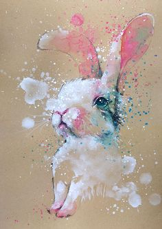 Bunny  watercolor with pencil painting  A4  A3  art by tilentiart
