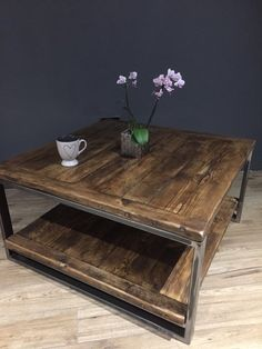 Reclaimed wood & industrial steel coffee table