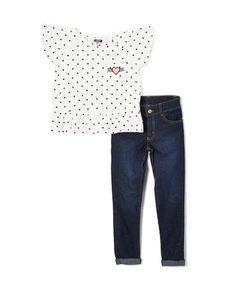 White Polka Dot Top & Jeans - Infant, Toddler & Girls