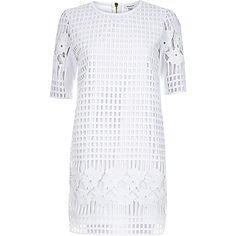 White grid lace t-shirt dress - day / t-shirt dresses - dresses - women