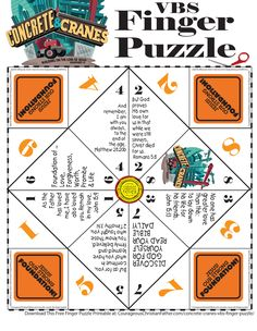 Concrete & Cranes VBS Finger Puzzle - Here is a FREE VBS Printable for the Lifeway's Concrete & Crane VBS. #ConreteCranes #VBSPrintable #FingerPuzzle Crane Construction, Construction Crafts, Christian Flag, Christian Crafts, Vbs Crafts, Church Crafts, Finger Games, Hidden Book, Vbs Themes