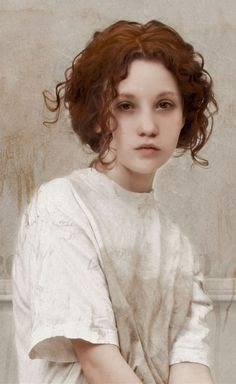Artist: Louis Treserras (French, b. 1958) {figurative realism art beautiful female young woman face portrait} Confident !!