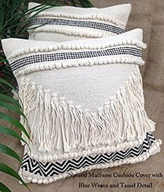Natural Cream Macrame Boho Cushions with Tassels Fringes and Bobble Detail (Natural with Blue Weave): Amazon.co.uk: Kitchen & Home
