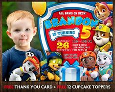 Paw Patrol Invitation, Paw Patrol Birthday Invitation, Paw Patrol Party Invitation, Paw Patrol Birthday Invitation with photo, BI-01