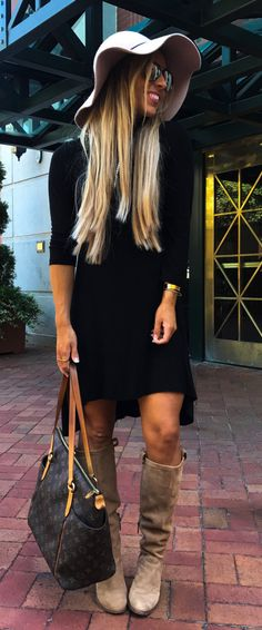 #fall #outfits women's black long-sleeved dress and white sun hat