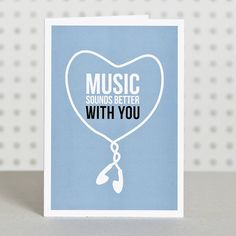 'Music Lover' Anniversary Card.  Music sounds better with you #songlyrics