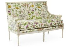"56"" settee with garden printed fabric"