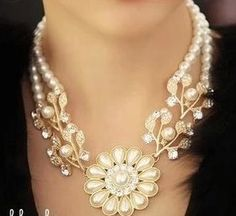 WHOLESALE FASHION JEWELRY ACCESSORIES NEW DESIGN LADY LUXURY BIB STATEMENT CRYSTAL MIXED PEARL NECKLACE COLLAR HOT