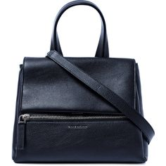 Givenchy Small Black Pandora Pure Leather Bag ($2,225) ❤ liked on Polyvore featuring bags, handbags, shoulder bags, leather flap handbag, genuine leather handbags, black purse, black leather handbags and shoulder strap purses