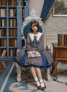 Penny House -The Academy of Magical Arts- Pointed Collar Lolita OP (Closed),Lolita Dresses, Harajuku Fashion, Kawaii Fashion, Lolita Fashion, Cute Fashion, Girl Fashion, Fashion Dresses, Vintage Fashion, Pretty Outfits, Cute Outfits