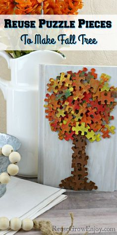 Cute easy fall craft. Don't toss out that puzzle when pieces go missing, use it to make this fall tree! Easy Fall Crafts, Fall Crafts For Kids, Easy Crafts, Easy Diy, Autumn Art, Autumn Trees, Amazing Crafts, Picture Hangers, All Holidays