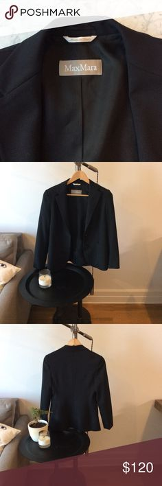 MaxMara Black Blazer A black wool  blazer is a wardrobe staple- why not have a super luxe one?   This impressive piece is made in Italy with magnificent craftsmanship and attention to detail. Somewhat relaxed fit and functional exterior pockets. Freshly dry cleaned and ready to go! MaxMara Jackets & Coats Blazers
