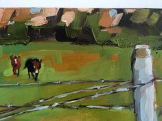 Cheval et Mule sont amis originale animale huile peinture de paysage par Angela Moulton 11 x 7 pouces sur toile