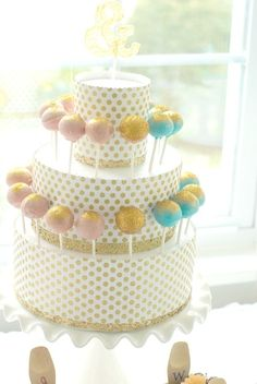Cake pop cake - Styrofoam cake dummies and paper...super simple!