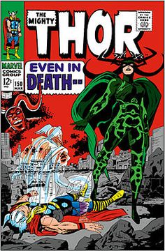 hela marvel | Hela on the cover of The Mighty Thor vol. 1, #150 (March 1968).