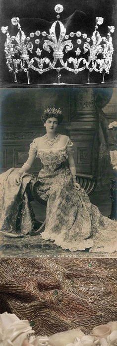 Mary Victoria (née Leiter), Lady Curzon of Kedleston, 1903. Wearing Boucheron tiara made in 1898, and a peacock dress made in 1902. She married the American heiress, Mary Leiter, in 1895 after a long distance relationship and secret two-year engagement. Lady Curzon (1870-1906) accompanied her husband to India where, as Viceriene, she was the second highest ranking woman in the British Empire after the Queen. https://www.flickr.com/photos/cathyhay/10455973296/in/set-72157636181383
