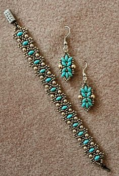 Linda's Crafty Inspirations: Bracelet and Earring Set: Duo Bobble Band  Loretta Deco Earrings