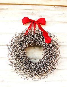 Christmas Wreath-Holiday Wreath-Christmas Decor-White HOLIDAY WREATH-Extra Berries-Holiday Home Decor-Custom-Choose Scent and Ribbon