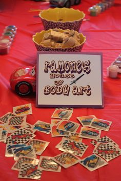 cars birthday party ideas   The Fillmore's Organic Fuel sign was used on the iced tea: