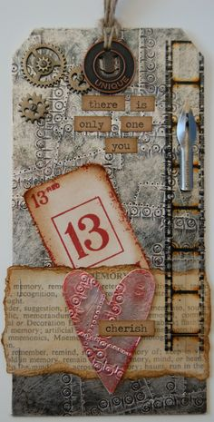 Metal tape background - Tim Holtz- Siv's place: 12 tags of 2012 ~ September birthday idea, # is bday. Atc Cards, Card Tags, Gift Tags, Tim Holtz, Tag Art, Timmy Time, Book Libros, Etiquette Vintage, Mixed Media Cards