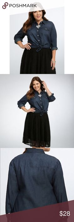 Dark Denim Button-up Dark Denim Button-up from Torrid. Excellent condition. torrid Tops Button Down Shirts
