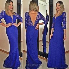 Fashionable Royal Blue Lace Prom Dresses #promdress #prom