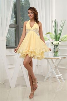 Halter Beading Sleeveless Short/ Mini Satin Chiffon Wedding Guest Dress  http://www.GracefulDress.com/Halter-Beading-Sleeveless-Short-Mini-Satin-Chiffon-Wedding-Guest-Dress-p19888.html