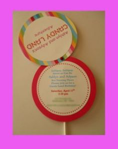 Cute Invite! How much would our Zoe LOVE a candy Birthday party??? VERY MUCH!!!!