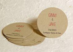 Personalized Round Wedding Favor Labels - Kraft Paper Favor Stickers - Custom Labels - Gift Labels. $11.25, via Etsy.