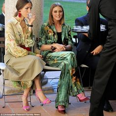 Olivia Palermo - Taking it all in: The former MTV star chose flared bottoms featuring an earthy print - September 20, 2017