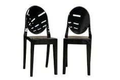 Baxton Studio Michelle Set of 2 Black Arcylic Accent Chair by Baxton Studio. $271.09. Lightweight but sturdy black acrylic. Offered as set of 2. Stackable. Black non-marking feet. Modern chair design - armless. Seat measures 19-inch high by 15-1/2-inch deep. Chair measures 15-inch wide by 16-inch deep by 36-inch high. These otherworldly black accent or dining chairs are simultaneously formal, modern, classic, and lightweight. Each chair is a sturdy acrylic and is convenient...