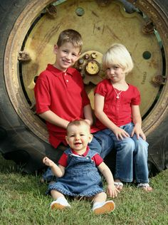 Kids in tractor tire