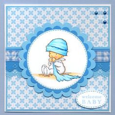 Baby Blanket stamp by Lili of the Valley - bashful in blue!