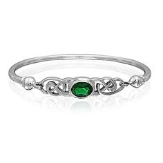Bling Jewelry Green Glass Celtic Knot Bangle Bracelet Silver * Check this awesome product by going to the link at the image.