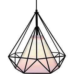 LumiSource Hedron Geometric Diamond Ceiling Lamp (1.601.235 IDR) ❤ liked on Polyvore featuring home, lighting, ceiling lights, black, black light, black lampshade, black shades, black lamp and light bulb shade