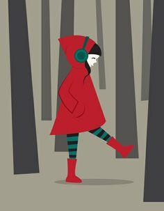 Red Riding Hood listening to music - Volkan Dalyan illustration