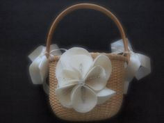 Flower Girl Basket Wedding Ivory 70 flower & 44 glass bead colors available by ArtisanFeltStudio on Etsy, $26.00
