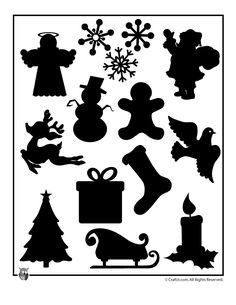 Printable Christmas Templates, Shapes and Silhouettes Christmas Shape Silhouettes to Print – Craft Jr.