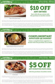 carrabbas coupons 20 off