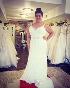Here is a sleeveless plus size wedding gown that has an open bust line.  The beaded bands on the bodice accentuate the figure.  Get custom #plussizeweddingdresses like this created with any change you need. You can customize one of our designs.  Or we can make a #replica of any dress from a picture and have it look similar but cost much less than the original.  Get pricing at www.dariuscordell.com