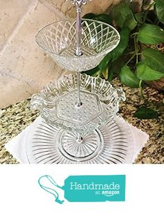 Three Tier Stand, Cake Stand, Jewelry Stand, Vanity Tray, or Dessert, Appetizer, Cup Cake Stand, Shabby Chic, Crystal / Cut Glass, Centerpiece from Revived Charm https://www.amazon.com/dp/B071HDP3K2/ref=hnd_sw_r_pi_dp_3g-bzbZJ0DHT6 #handmadeatamazon