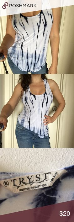 Soft tie-dye racer back tank by TRYST XL Super Soft tie-dye racer back tank by TRYST. Size XL. Amazing quality in excellent pre loved condition. Made in USA. 95% rayon 5% spandex. Tryst Tops Tank Tops