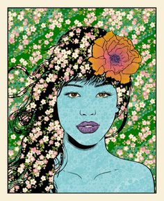 """Sakura"" by Chuck Sperry. 22″ x 28″ 7-color Screenprint. Ed of 150.sperry sakura"
