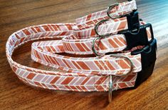 Dark and light pink striped Dog Collar by HalasPaws on Etsy, $10.99